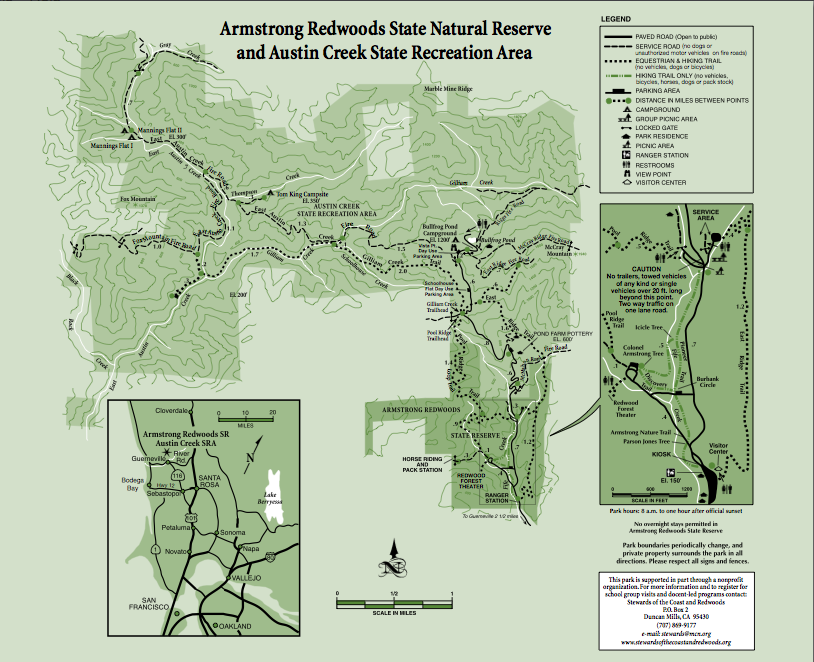 Armstrong Redwoods State Park map
