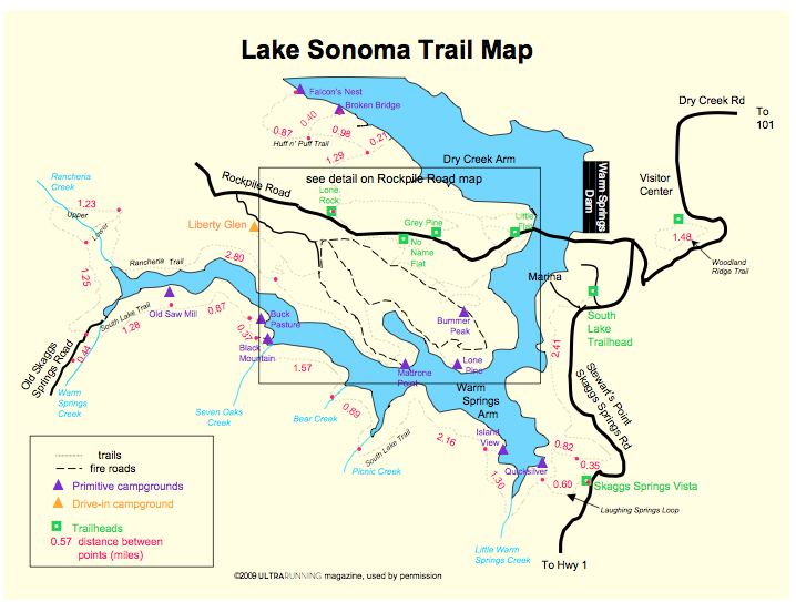 Lake Sonoma Trail Map